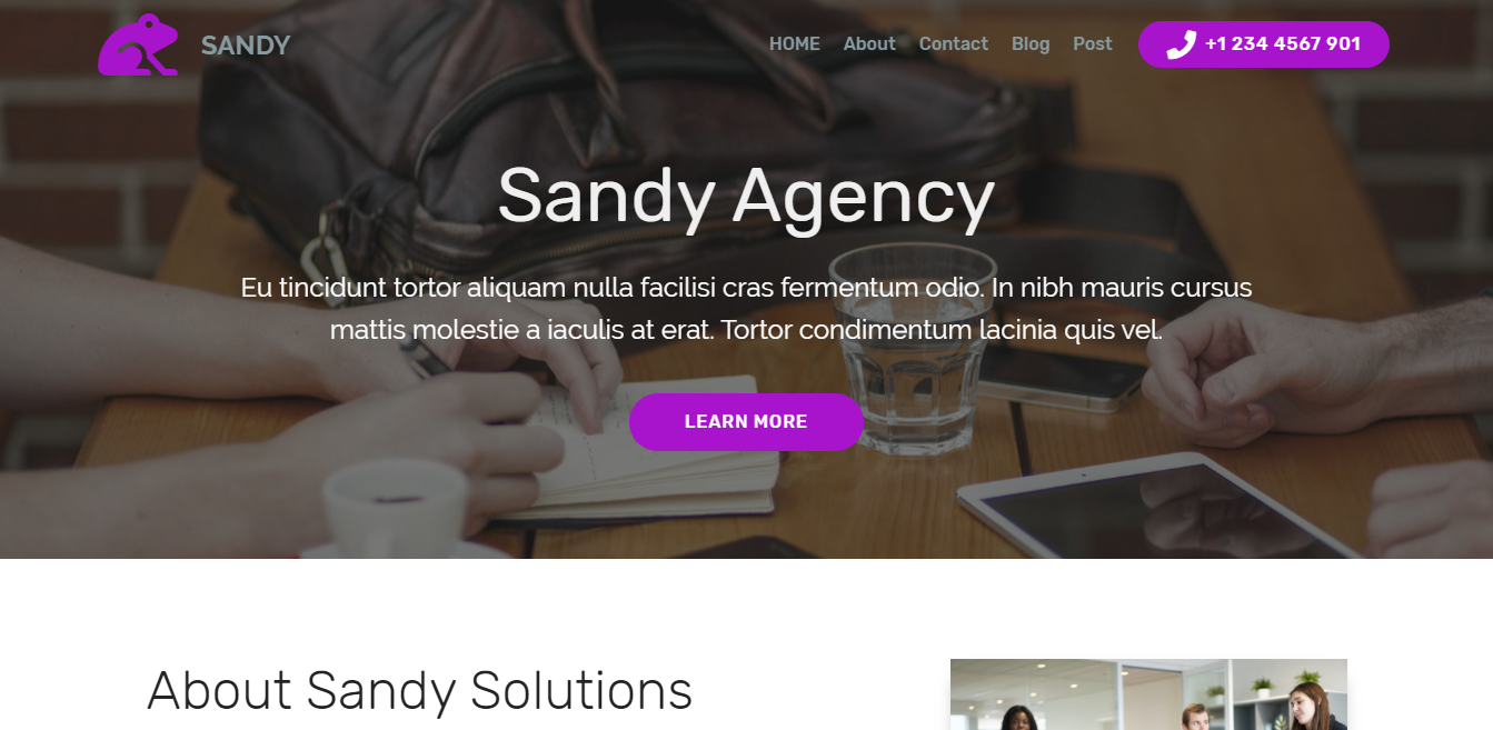 Sandy – Bootstrap Agency Theme